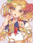 1girl :d artist_name bangs bishoujo_senshi_sailor_moon blonde_hair bow bracelet choker close-up crescent earrings facial_mark hair_grab hair_ornament heart heart_choker highres jewelry lavender_background lipstick long_hair makeup making_of multicolored multicolored_eyes open_mouth parted_bangs purii red_bow ring school_uniform serafuku smile solo tsukino_usagi twintails very_long_hair watermark