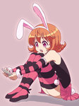 1girl animal_ears bare_shoulders brown_hair bunny_ears bunny_tail cellphone hunter_x_hunter nurutema open_mouth phone piyon_(hunter_x_hunter) purple_eyes short_hair skirt solo striped striped_legwear tail thighhighs