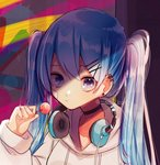 1girl artist_name bandage_on_face bandages bangs beige_hoodie beige_sweater blue_hair candy clenched_hand collar commentary earpiece earrings food hair_ornament hairclip hatsune_miku headphones headphones_around_neck holding_lollipop hood hooded_sweater hoodie jewelry lollipop long_hair looking_at_viewer mame_kuri multicolored multicolored_background purple_eyes serious shiny shiny_clothes shiny_hair shiny_skin sparkling_eyes sweater twintails very_long_hair vocaloid