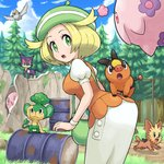 1girl :d :o animal animal_on_back bag bel_(pokemon) blonde_hair blue_sky breasts cloud day drum_(container) eye_contact fence flying gen_5_pokemon grass green_eyes green_hat handbag hat leaning_forward lillipup looking_at_another looking_back munna musharna open_mouth outdoors pansage pidove pokemoa pokemon pokemon_(creature) pokemon_(game) pokemon_bw puffy_short_sleeves puffy_sleeves purrloin revision rock short_sleeves skirt sky smile tepig tree white_wristband wristband
