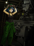 1girl alternate_costume arms_up bangs bare_shoulders black_eyes blue_hair brown_gloves chain clothes_around_waist collarbone drill engineer gloves goggles goggles_on_headwear green_pants grin hands_on_own_head hat hinoyama_ena hook indoors kawashiro_nitori machine machine_tool number open_mouth pants shirt shirt_around_waist short_hair smile solo tank_top touhou two_side_up