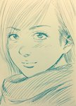 1girl face graphite_(medium) hatching_(texture) highres lee_(dragon_garou) lineart looking_at_viewer monochrome original scarf smile solo traditional_media