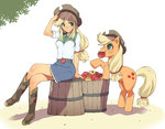1girl apple apple_print applejack arm_support bangs belt blonde_hair blue_skirt blush boots breasts brown_footwear brown_hat bucket closed_mouth collared_shirt commentary_request crossed_legs eyebrows_visible_through_hair food fruit full_body green_eyes hat highres horse horse_tail knee_boots long_hair looking_at_another low-tied_long_hair medium_breasts mouth_hold my_little_pony my_little_pony_equestria_girls my_little_pony_friendship_is_magic personification profile shadow shirt short_sleeves sitting skirt smile standing swept_bangs tail takeda_sun white_background white_shirt wing_collar