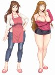 2girls apron bare_shoulders breasts brown_eyes brown_hair collarbone denim earrings furyou_ni_hamerarete_jusei_suru_kyonyuu_okaa-san highres jeans jewelry large_breasts lips long_hair microskirt milf mole mole_under_mouth multiple_girls naughty_face nipple_slip nipples pants ponytail ring simple_background skirt slippers sweater thighhighs white_background xxzero