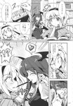 2girls absurdres alice_margatroid breasts comic demon_wings doujinshi eyebrows_visible_through_hair fangs food frills fumitsuki_(minaduki_6) greyscale hairband highres koakuma long_hair long_sleeves monochrome multiple_girls necktie open_mouth page_number pocky pocky_kiss scan shared_food short_hair sweatdrop touhou translated wings yuri