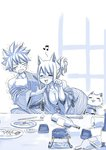 1boy 1girl alcohol animal_ears bottle cat cat_ears commentary drunk fairy_tail happy_(fairy_tail) japanese_clothes lucy_heartfilia mashima_hiro monochrome natsu_dragneel no_bra off_shoulder smile table trembling wine_bottle