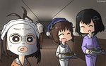 3girls adapted_costume alternate_costume ammunition black_hair brown_eyes brown_hair closed_eyes commentary dated facial_mask feet_out_of_frame haguro_(kantai_collection) hairband hallway hamu_koutarou hat highres kantai_collection multiple_girls naka_(kantai_collection) open_mouth pajamas plate round_teeth short_hair smile teeth tray upper_teeth yukikaze_(kantai_collection) zoom_layer