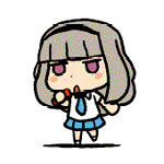 1girl animated animated_gif chibi dancing gif_artifacts idolmaster jumping lowres microphone pointing purple_eyes riyo_(lyomsnpmp) shijou_takane silver_hair solo
