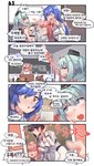 0_0 4koma 6+girls :d aningay bangs black_hair black_headwear blonde_hair blue_eyes blue_hair blush blush_stickers bow breasts brown_hair character_request cleavage closed_eyes comic crop_top dress eyebrows_visible_through_hair eyewear_on_head fur_hat garrison_cap girls_frontline green_hair hair_between_eyes hair_bow half-closed_eyes hat highres holding holding_photo indoors jericho_(girls_frontline) korean_text large_breasts long_hair long_sleeves medium_breasts micro_uzi_(girls_frontline) mini_hat multiple_girls nagant_revolver_(girls_frontline) negev_(girls_frontline) one_side_up open_mouth petting photo_(object) pink_hair red_bow red_eyes sleeping smile sunglasses tar-21_(girls_frontline) tears tongue tongue_out twintails ump9_(girls_frontline) v very_long_hair wavy_mouth white_dress white_headwear yawning zzz