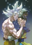 1boy 1girl artist_name black_hair chi-chi_(dragon_ball) chinese_clothes closed_eyes commentary_request couple dragon_ball dragon_ball_super dragon_ball_z earrings forehead-to-forehead grey_background hands_on_another's_back hands_on_another's_face happy hetero hug jewelry kim_yura_(goddess_mechanic) shirtless short_hair simple_background smile son_gokuu sparkle spiked_hair tied_hair ultra_instinct white_hair