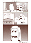 (o)_(o) comic commentary cosplay greyscale highres horns kantai_collection mittens monochrome moomin muppo no_humans northern_ocean_hime northern_ocean_hime_(cosplay) revision sazanami_konami shinkaisei-kan silent_comic simple_background translated trash_can
