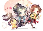 2boys black_hair blue_eyes bow brown_hair chibi coat feebas hair_bow haori japanese_clothes kashuu_kiyomitsu male_focus mawile multiple_boys namie-kun open_mouth pokemon pokemon_(creature) ponytail red_eyes scarf shinsengumi smile sparkle sword touken_ranbu weapon yamato-no-kami_yasusada