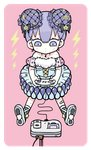 1girl bangs bent_elbows blush blush_stickers bow commentary_request controller dress game_controller grey_bow holding holding_object looking_at_viewer moon multicolored multicolored_clothes multicolored_dress multicolored_footwear original pink_background purple_hair saturn_symbol short_hair sitting sleeveless solo star tera