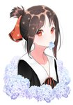 1girl black_shirt brown_hair collarbone flower hige_(693273545) highres kaguya-sama_wa_kokurasetai_~tensai-tachi_no_renai_zunousen~ looking_at_viewer mouth_hold neck_ribbon red_eyes red_ribbon ribbon sailor_collar shinomiya_kaguya shiny shiny_hair shirt short_hair short_ponytail sidelocks simple_background solo upper_body white_background white_flower white_sailor_collar