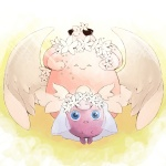 :3 bad_id bad_pixiv_id blissey blue_eyes bridal_veil cleffa closed_eyes clothed_pokemon flower hair_flower hair_ornament jigglypuff no_humans ozawa_kika pokemon pokemon_(creature) pokemon_(game) pokemon_gsc smile veil wings