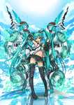 1girl aqua_eyes aqua_hair bad_id bad_pixiv_id black_skirt cocoaore detached_sleeves hatsune_miku highres long_hair megaphone microskirt navel necktie open_mouth pleated_skirt skirt smile solo thighhighs twintails very_long_hair vocaloid zettai_ryouiki
