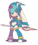 1girl android blue_eyes blue_gloves blue_hair blue_legwear blue_panties blue_shirt blush bodysuit bright_pupils closed_mouth crop_top elbow_gloves fingerless_gloves gloves high_heels holding holding_spear holding_weapon legs_apart leviathan_(rockman) long_hair miyata_(lhr) multicolored_hair panties polearm rockman rockman_zero shadow shirt sleeveless sleeveless_shirt smile solo spear standing thighhighs turtleneck twintails two-tone_hair underwear weapon white_bodysuit white_hair white_pupils