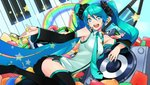 1girl absurdres aqua_eyes aqua_hair aqua_nails arched_back dekodere detached_sleeves hands hatsune_miku headphones headset highres long_hair lying nail_polish nana_g necktie on_side sitting skirt smile solo speaker star symbol-shaped_pupils thighhighs twintails vector_trace very_long_hair vocaloid zettai_ryouiki