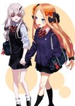 2girls abigail_williams_(fate/grand_order) bag bags_under_eyes bangs black_bow blonde_hair blue_eyes bow cardigan fate/grand_order fate_(series) hair_bow highres holding_hands horn lavinia_whateley_(fate/grand_order) long_hair multiple_girls multiple_hair_bows open_mouth orange_bow parted_bangs pleated_skirt polka_dot polka_dot_bow purple_bow school_bag school_uniform skirt sleeves_rolled_up very_long_hair yomosaka