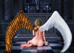 1girl altar angel angel_wings ass asymmetrical_wings back barefoot blonde_hair candlestand checkered checkered_floor church commentary_request contrast ebi_(eeotoko) facing_away feathered_wings feet from_behind full_body highres indoors mechanical_wings nude on_floor original reflective_floor short_hair signature sitting soles solo spread_wings statue steampunk stone_floor tile_floor tiles toes white_wings wings yokozuwari