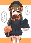 ... 1girl abigail_williams_(fate/grand_order) abigail_williams_(fate/grand_order)_(cosplay) bangs black_bow black_dress black_hat blonde_hair bloomers blue_eyes blush bow commentary_request cosplay dress fang fate/grand_order fate_(series) green_eyes green_hair hair_bow hat highres holding holding_stuffed_animal igarashi_futaba_(shiromanta) long_hair orange_bow purple_bow shiromanta sleeves_past_fingers sleeves_past_wrists solo spoken_ellipsis stuffed_animal stuffed_toy teddy_bear translated underwear white_bloomers