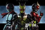3boys antennae armor belt character_name chunk-san commentary compound_eyes full_armor helmet kamen_rider kamen_rider_(series) kamen_rider_01_(series) kamen_rider_1 kamen_rider_kuuga kamen_rider_kuuga_(series) kamen_rider_zero-one male_focus multiple_boys red_eyes scarf thumbs_up trait_connection