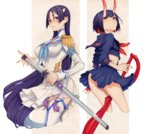 2girls bakuzan bangs black_hair cosplay cowboy_shot cropped_legs crossover fate/grand_order fate_(series) gloves hair_ornament holding holding_weapon honda_(obon) junketsu kill_la_kill kiryuuin_satsuki kiryuuin_satsuki_(cosplay) long_hair looking_at_viewer matoi_ryuuko matoi_ryuuko_(cosplay) minamoto_no_raikou_(fate/grand_order) multicolored_hair multiple_girls oni oni_horns partly_fingerless_gloves purple_eyes school_uniform scissor_blade senketsu serafuku short_hair shuten_douji_(fate/grand_order) single_glove skirt thighhighs very_long_hair weapon