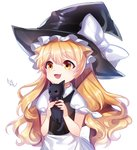 1girl :3 bad_id bad_pixiv_id blonde_hair cat fang hat kirisame_marisa long_hair simple_background solo songmil touhou white_background witch_hat yellow_eyes