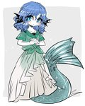 1girl blue_eyes blue_hair blush breasts drill_hair green_shirt hands_together head_fins highres interlocked_fingers mermaid monster_girl see-through_silhouette shirt short_sleeves simple_background skirt small_breasts solo symbol-shaped_pupils tied_shirt touhou wakasagihime white_skirt yt_(wai-tei)