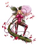 1girl absurdres aoi_nagisa_(metalder) arm_guards armor bangs black_gloves blonde_hair bodysuit breasts covered_navel elbow_gloves eyebrows_visible_through_hair fishnets flower full_body gloves green_eyes hair_ornament high_heels highres holding holding_weapon huge_breasts impossible_bodysuit impossible_clothes kosaka_shizuru long_hair looking_at_viewer official_art parted_lips petals rose rose_petals shiny shiny_clothes shiny_hair shiny_skin simple_background skin_tight solo standing taimanin_(series) taimanin_asagi_kessen_arena taimanin_yukikaze taimanin_yukikaze_2 thighhighs thighs thorns weapon whip white_background
