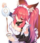 1girl absurdres adapted_costume alternate_costume alternate_hairstyle animal_ear_fluff animal_ears apron black_dress breasts cleavage coffee coffee_cup collarbone commentary commentary_request cup detached_sleeves disposable_cup dress enmaided eyebrows_visible_through_hair fate/extra fate/extra_ccc fate/grand_order fate_(series) fox_ears fox_girl fox_tail frills gallant99770 highres large_breasts looking_at_viewer looking_up maid maid_apron maid_headdress pink_hair puffy_short_sleeves puffy_sleeves short_sleeves simple_background solo tail tamamo_(fate)_(all) tamamo_no_mae_(fate) twintails waist_apron white_background yellow_eyes