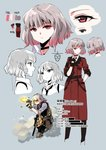 1girl chinese_commentary chinese_text choker colorized commentary_request earpiece female_commander_(girls_frontline) fingerless_gloves firing gentiane_(girls_frontline) girls_frontline gloves goggles grey_hair gun handgun highlights highres holstered_weapon kriss_vector miharu_(cgsky) military military_uniform multicolored_hair official_art pink_eyes pink_hair solo submachine_gun translated uniform weapon