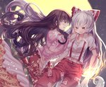 2girls bangs black_hair blush bow cat commentary_request fangs fire floral_print fujiwara_no_mokou full_moon hair_bow highres houraisan_kaguya kemo_chiharu long_hair long_sleeves looking_at_another midriff moon multiple_girls open_mouth overalls pants profile red_eyes red_pants shirt short_sleeves signature torn_clothes torn_sleeves touhou very_long_hair wavy_hair white_hair white_shirt wide_sleeves