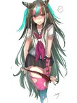 1girl bare_arms black_hair black_nails blue_hair blue_legwear blush commentary_request danganronpa ear_piercing eyebrows_visible_through_hair fingerless_gloves gloves highres holding holding_panties horns jewelry lip_piercing long_hair looking_at_viewer miniskirt mioda_ibuki mismatched_gloves mismatched_legwear miyoichi_(_miyoichi) mouth_piercing multicolored_hair nail_polish necklace panties panty_pull piercing pink_eyes pink_hair pink_legwear plaid plaid_panties ring school_uniform serafuku shirt signature simple_background skirt smile solo speech_bubble super_danganronpa_2 thighhighs torn_clothes underwear undressing very_long_hair white_background white_hair white_shirt