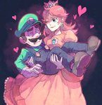 1boy 1girl ;) atsuko_(pixiv2232917) blue_eyes brown_hair carrying constricted_pupils cowboy_shot crown dress earrings eye_contact facial_hair flower_earrings gloves green_hat hat heart heart_eyes jewelry lipstick looking_at_another luigi makeup mario_(series) mustache one_eye_closed orange_hair overalls parted_lips princess_carry princess_daisy smile standing super_mario_bros. white_gloves yellow_dress