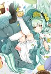 1girl absurdres alternate_costume aqua_dress bangs black_footwear bloomers blush bonnet candy checkerboard_cookie chocolate_doughnut commentary_request cookie detached_sleeves dot_nose doughnut dragon_horns dress eyebrows_visible_through_hair fate/grand_order fate_(series) flower food gloves green_hair hair_flower hair_ornament hand_to_own_mouth high_heels highres hokuotzu horns invisible_chair jelly_bean kiyohime_(fate/grand_order) kneehighs kneepits legs_up long_hair looking_at_viewer macaron ribbon rose shoe_flower shoe_soles shoes sitting smile solo sweets underwear upskirt very_long_hair white_gloves white_legwear yellow_eyes yellow_flower yellow_rose