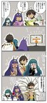 1boy 2girls 4koma :d :o ahoge asaya_minoru bangs beamed_eighth_notes black_gloves black_shirt blush book bouquet brown_eyes brown_hair chin_stroking cleopatra_(fate/grand_order) comic dark_skin earrings egyptian egyptian_clothes eighth_note eyebrows_visible_through_hair facial_mark fate/grand_order fate/prototype fate/prototype:_fragments_of_blue_and_silver fate_(series) flat_screen_tv flower gloves green_eyes green_hair hair_between_eyes hands_on_hips hands_on_own_face headband holding holding_book holding_bouquet hoop_earrings jackal_ears jewelry long_hair long_sleeves makeup mascara medjed multiple_girls musical_note nitocris_(fate/grand_order) nose_blush open_mouth ozymandias_(fate) purple_eyes purple_hair quarter_note reading red_flower red_rose rose shirt smile sparkle sweat television translation_request trembling twitter_username very_long_hair