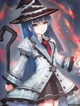 1girl blue_eyes blue_hair eyebrows_visible_through_hair hat holding holding_staff long_hair looking_at_viewer mages. mole mole_under_eye necktie neptune_(series) solo staff suterisu witch_hat