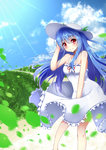 1girl bird blue_hair blurry blush cloud cloudy_sky depth_of_field dress frilled_dress frills grass hand_on_headwear hat highres hinanawi_tenshi hips legs lens_flare light_rays long_hair looking_at_viewer path petals red_eyes road sky small_breasts smile solo standing sun_hat sundress sunlight touhou white_dress wind ymd_(holudoun)