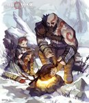 3boys absurdres arrow artist_name asymmetrical_clothes atreus bald beard blue_eyes boots bow_(weapon) brown_hair campfire commentary copyright_name eating facial_hair father_and_son fingerless_gloves fire food gamza gloves glowing glowing_eye god_of_war highres horns kratos log meat mimir multiple_boys pale_skin pelt quiver rock severed_head short_hair shoulder_armor sitting snow tattoo tree very_short_hair weapon wristband