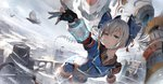 1girl bangs benghuai_xueyuan bird blue_eyes blue_skirt blurry bow bronya_zaychik building castle cloud cloudy_sky day depth_of_field drill_hair feathers feet_out_of_frame fingerless_gloves flag flying gloves hair_bow highres honkai_impact jacket looking_at_viewer mecha medium_hair motion_blur outdoors outstretched_arm perspective pleated_skirt puffy_short_sleeves puffy_sleeves serious short_sleeves skirt sky solo thighhighs toriumi_harumi twin_drills twintails v-shaped_eyebrows white_hair wind wing_collar zettai_ryouiki