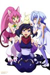 3girls :d ^_^ absurdres animal_ears ayame_(gundam_build_divers) bangs bike_shorts blue_hair blush boots bridal_gauntlets cat_ears cat_tail closed_eyes creature detached_sleeves dress eyebrows_visible_through_hair gundam gundam_build_divers hair_intakes highres japanese_clothes jewelry long_hair low_twintails mol_(gundam_build_divers) momo_(gundam_build_divers) multiple_girls necklace newtype official_art open_mouth pantyhose pink_hair pink_skirt poking ponytail purple_eyes purple_hair purple_legwear sara_(gundam_build_divers) scan scarf shadow shiny shiny_hair shorts shorts_under_skirt simple_background sitting skirt smile tail thigh_boots thighhighs toida_juri twintails very_long_hair wariza wavy_mouth white_background white_dress