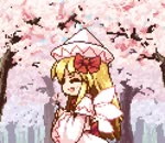 1girl :d ^_^ animated bangs blonde_hair blue_eyes bow capelet cherry_blossoms closed_eyes commentary_request cowboy_shot dress eighth_note eyebrows_visible_through_hair facing_viewer fairy_wings flower from_side hair_bow happy hat holding holding_flower isu_(is88) lily_white long_hair long_sleeves looking_at_viewer lowres mp4 music musical_note open_mouth pink_flower pixel_art profile red_bow red_sash sash sidelocks singing smile touhou translated tree white_capelet white_headwear wide_sleeves wings