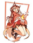 1girl :d animal_ear_fluff animal_ears borrowed_character brown_hair commentary fang fire fox_ears fox_tail highres japanese_clothes kimono lirilias long_hair long_sleeves open_mouth original smile tail wide_sleeves