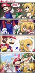/\/\/\ 2boys 3girls 4koma =_= ?_block arm_hug attack bare_arms bare_shoulders black_collar black_dress blank_eyes blocking blonde_hair blood blue_eyes blush boo borrowed_design bowser bowsette bracelet brown_eyes brown_hair claws collar comic commentary crown crying crying_with_eyes_open day dress earrings emphasis_lines empty_eyes facial_hair fang geoduck ghost ghost_tail gloom_(expression) gloves green_hair hair_between_eyes hat heart highres holding holding_weapon horns jewelry long_hair long_sleeves looking_at_another mace mario mario_(series) motion_lines multiple_boys multiple_girls mustache new_super_mario_bros._u_deluxe no one_eye_closed open_mouth outdoors overalls parody pink_dress piranha_plant pointy_ears ponytail princess_king_boo princess_peach puffy_short_sleeves puffy_sleeves purple_eyes rejection scales sekiguchi_miiru shaded_face sharp_teeth short_sleeves smile sparkle spiked_armlet spiked_bracelet spiked_collar spiked_mace spiked_shell spikes strapless strapless_dress super_crown super_mario_bros. sweater tears teeth turtle_shell weapon white_dress yaoi