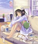 1girl air_conditioner ataru_(ataru_squall) bangs bare_legs barefoot blinds blush bookshelf bowl brown_eyes brown_hair cat cat_teaser closed_umbrella cloud controller couch dress_shirt drinking_glass earrings feet_on_chair food_bowl glass heart heart_earrings highres indoors jewelry knees_up legs legs_together long_sleeves looking_away on_couch original paw_print pet_bowl photo_(object) pillow plant polaroid potted_plant remote_control shirt short_hair shorts sitting sky sleeves_past_wrists smile solo stuffed_toy sunset toes towel towel_on_head umbrella wet wet_clothes wet_hair white_shirt window wooden_floor