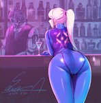 1girl alcohol android artist_name ass bar bartender blonde_hair blue_bodysuit blue_eyes bodysuit bottle cherry cocktail_glass commentary counter cup dated drinking_glass food fruit high_ponytail highres leaning_on_object long_hair looking_at_viewer looking_back metroid ponytail samus_aran sawasa signature skin_tight zero_suit