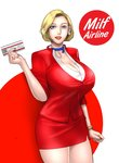 1girl absurdres blonde_hair blue_eyes breasts choker cleavage earrings flight_attendant formal highres huge_breasts jewelry mature nail_polish original pencil_skirt red_lips red_nails scarlett_ann short_hair skirt suit ticket watch wristwatch