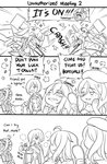 3koma 6+girls :d anger_vein bangs beret blood blood_from_mouth blush bong broken chair collared_shirt comic commentary crossover detached_sleeves dress_shirt emphasis_lines english_commentary english_text eyebrows_visible_through_hair fighting gangut_(kantai_collection) girls_frontline greyscale guin_guin hair_between_eyes hair_over_one_eye hand_mirror hat headgear holding_mirror jacket kantai_collection kongou_(kantai_collection) lighter long_hair long_sleeves mg5_(girls_frontline) mini_hat mirror mole mole_under_eye mole_under_mouth monochrome multiple_girls nontraditional_miko open_clothes open_jacket open_mouth pleated_skirt profile ribbon-trimmed_sleeves ribbon_trim richelieu_(kantai_collection) sendai_(kantai_collection) shirt short_hair skirt sleeveless sleeveless_shirt smile smoke smoking sparkle sunglasses table thompson_submachine_gun_(girls_frontline) throwing tilted_headwear ump45_(girls_frontline) wide_sleeves