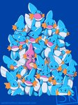 :d ^_^ absurdres blue blue_background blue_skin closed_eyes closed_mouth covering_mouth creature crossed_arms gen_3_pokemon highres lying mudkip no_humans odd_one_out on_stomach open_mouth outstretched_arms pink_skin pokemon pokemon_(creature) signature simple_background smile standing techranova too_many watermark web_address